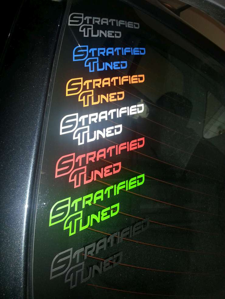"STRATIFIED 5.3""x1.5"" Vinyl Decals"
